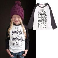 2015 bambino ragazze lettera stampa t-shirt bambino manica lunga camicetta di cotone per bambini della maglietta delle ragazze abbigliamento