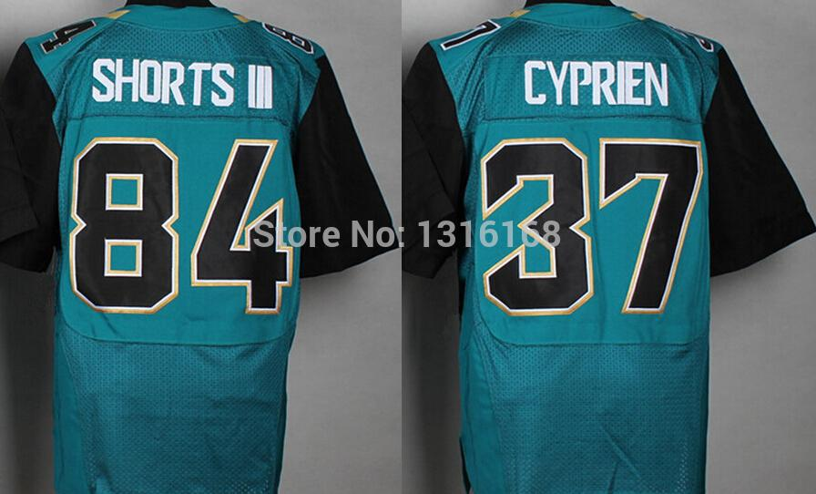 Best /Top Wholesale #37 John Cyprien #84 Cecil Shorts III Green Jersey Embroider Logo American Football Jerseys Factory Price(China (Mainland))