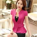 2016 Fashion work wear Jacket Women Foldable Short Sleeve V neck Coat Candy Color feminino Blazer