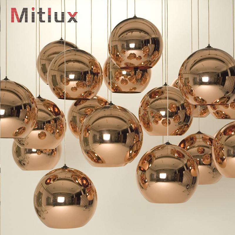 Modern Lustre Glass Ball Pendant Lights Copper Lampshade Globe Pendant Lamps lustres de sala Light Fixtures luminaire(China (Mainland))