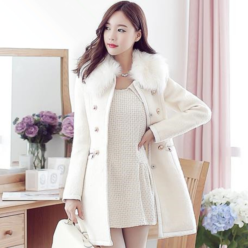 2015 Wool Coat For Women Mid-long Style With Fur Collar Coats Womens Warm Winter Outerwear Solid Overcoat C8097Одежда и ак�е��уары<br><br><br>Aliexpress