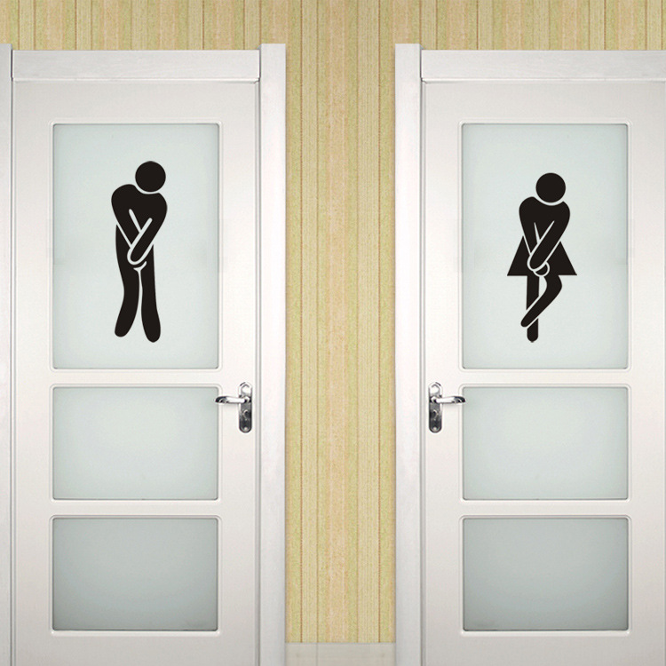 Toilet wall stickers home decor wc funny toilet entrance for Decoration wc
