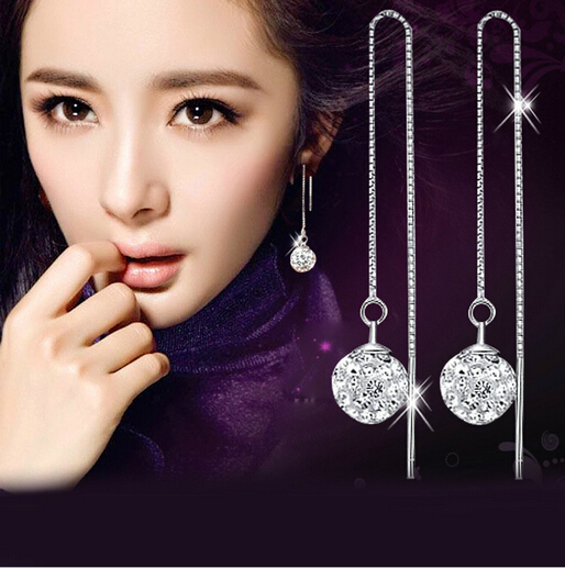 CM237 2015 new Vintage Jewelry 925 Silver crystal Shamballa Earrings for Womans Stud Earrings Wholesale Fashion Jewelry <br><br>Aliexpress
