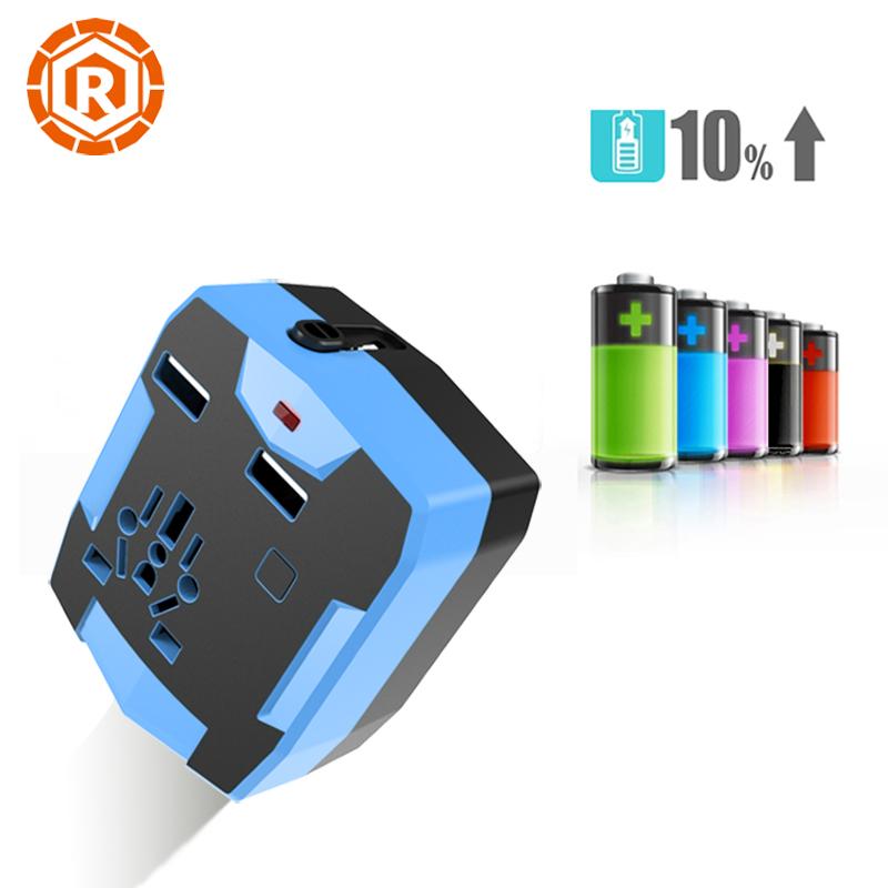 Universal Travel Adapter Converter With 18650 Battery 3000Mah Power Bank Double USB External Battery Charger AU UK US EU Plug(China (Mainland))