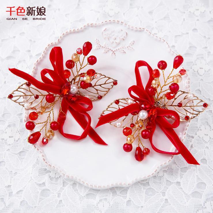 Red rhinestone hair accessories Korean handmade beaded bride bride wedding dress wedding headdress flower leaf 1012(China (Mainland))