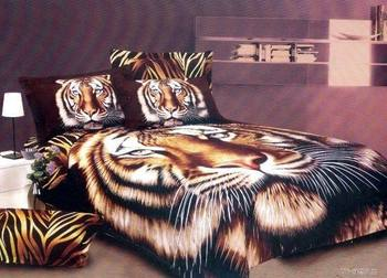 Hot Beautiful 100% Cotton 4pc Doona Duvet QUILT Cover Set bedding set Full / Queen/ King size 4pcs animal lovely tiger