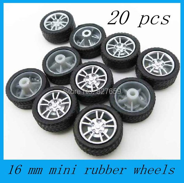 Free shipping 20 pcs 16mm mini rubber wheel diy small production technology plastic toy wheel(China (Mainland))