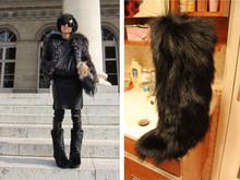 El exclusivo Hilary Tsui Europa rodilla botas altas botas de nieve de piel de zorro de piel de zorro botas sexy zapatos de plataforma de la mujer botas de nieve ocasionales Planos(China (Mainland))
