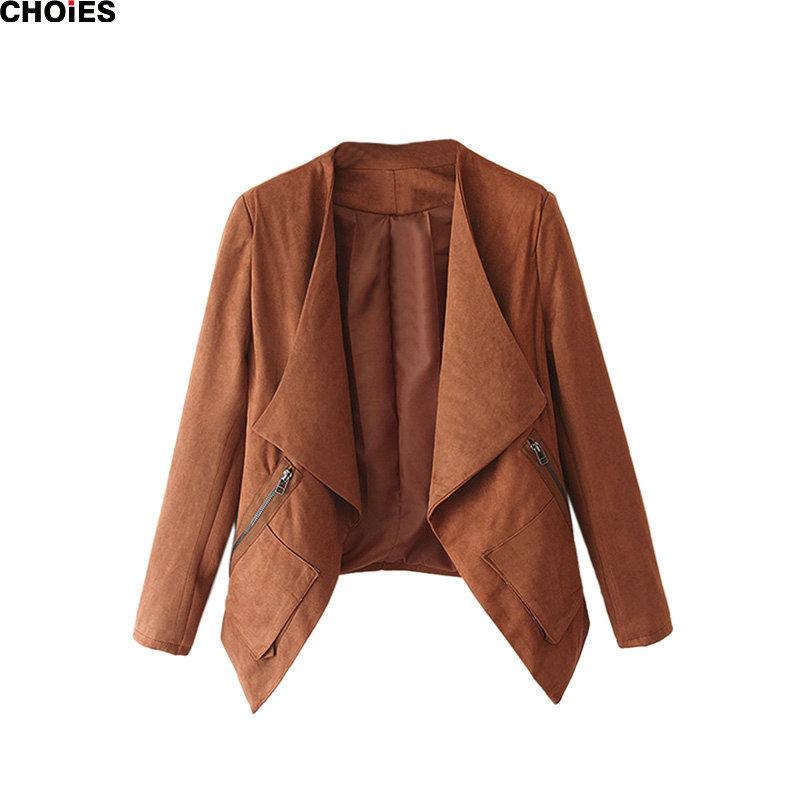 CHOIES Blazer 2015 Autumn Long Sleeve Wide Lapel Faux Suede Outwear Casual Short Slim Women Jacket Coat Camel Grey Green Red(China (Mainland))