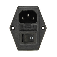 10A AC250V 3 in 1 Fuse Power Supply Socket Plug Adapter With Power Switch For Makerbot