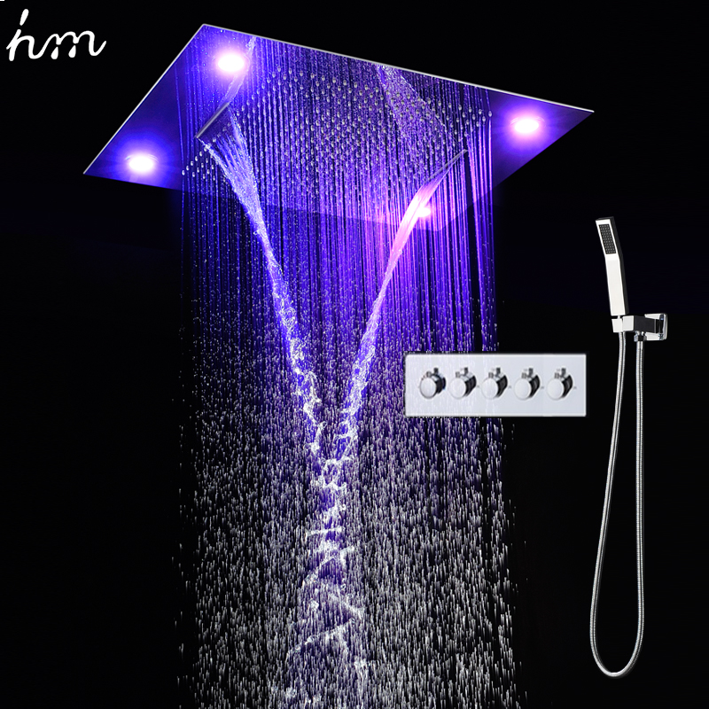 High Quality Rainfall waterfall big led Shower Set with brass Hand Showe valve high flow rain set bath unit shower faucet sets(China (Mainland))