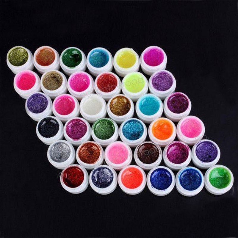 New 36 Bottle Mix Colors Nail Art Glitter UV Gel Builder Polish Set for Acrylic Nails Art Decorations gelpolish(China (Mainland))