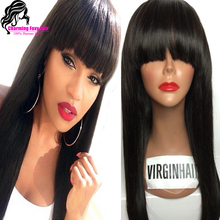 100% Virgin Brazilian Full Lace Human Hair Wigs With Bangs/Glueless Lace Front Wig 150 Density Full Lace Wig For Black Woman(China (Mainland))