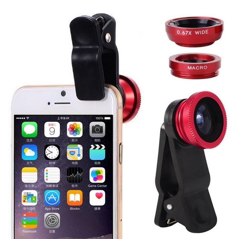 3-in-1 Wide Angle Macro Fisheye Lens Kit with Clip 0.67x Mobile Phone lenses Fish Eye Lens for iPhone 6 6s 7 Camera Lentes