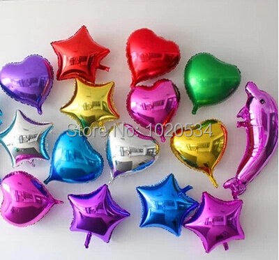 Wholesale 100pcs/lot 5 inch Heart Shape and Star Aluminum Foil Balloon Wedding Decoration Party Supplies helium balloon(China (Mainland))