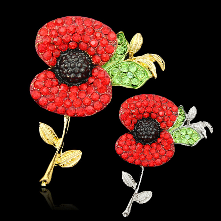 (240 pcs/lot) Free DHL Cheap Wholesale Lot Very Beautiful Sparkle Red Crystal Rhinestone Poppy Brooch Pins UK Remembrance Day<br><br>Aliexpress