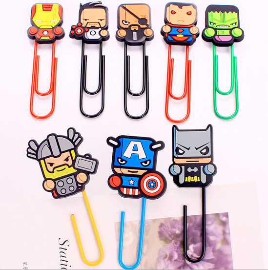 Super American Heroes Paper Clip Bookmark Promotional Gift Stationery School Office Supply Escolar Papelaria(China (Mainland))