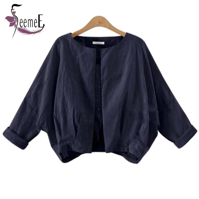 SeemeE Cardigan Women Jacket Coats White Blue Unlined Garment Round Neck Long Sleeve Autumn Thin Casual Batwing Small Coats Tops(China (Mainland))