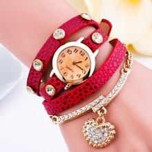 Hot Selling New Fashion Luxury Brand Women Wristwatch Heart Pendant Bracelet Quartz Watche Braid Multilayer Wrap