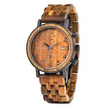 Reloj de madera hecho a mano reloj hombre Pájaro BOBO reloj de madera Metal de madera de lujo cronógrafo 2019 regalo impresionante C-S08(China)