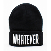 Autumn  winter  letter WHATEVER hip-hop fashion embroidered wool acrylic knit black hat men women