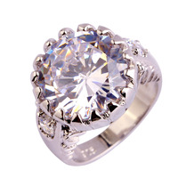 Fashion New Wedding Jewelry Opanhanded Round Cocktail White Sapphire 925 Silver Ring For Women Rings Size 6 7 8 9 10 Wholesale