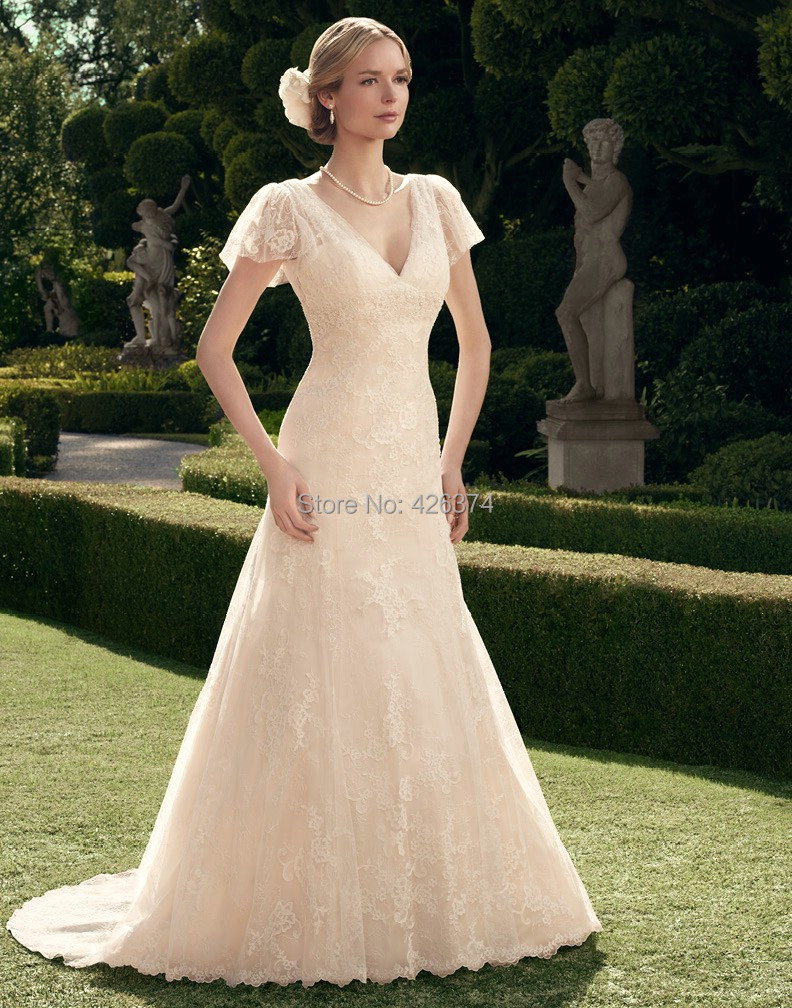 Summer dresses 2014 new arrival a line backless wedding for Short sleeved wedding dress