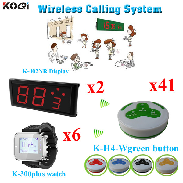 Restaurant Call System Wireless Restaurant Paging System Calls,41pcs K-H4 Calling Buttons &2pcs P-402NR Display Screen& 6 Watch(China (Mainland))