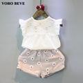 VORO BEVE Fashion kids Short Sleeve Suit Baby Boy Clothes Set Sweet Flower Pattern Cotton T