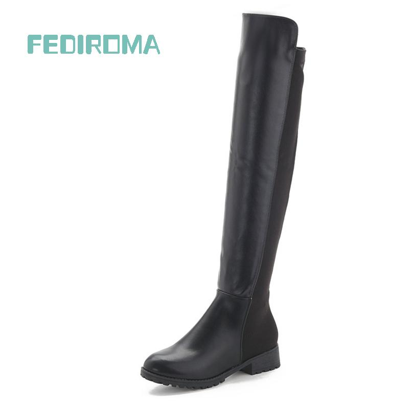 Flat heel knee boots Skinny legs Womens New Martin Genuine Leather womens winter ladies female shoes - Queen factory Co., Ltd. store