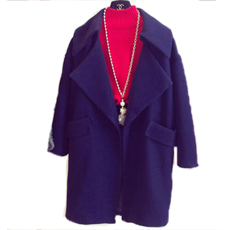 Large lapel woolen jacket coat female 2015 new large size Korean version of the fall and winter long sectionОдежда и ак�е��уары<br><br><br>Aliexpress