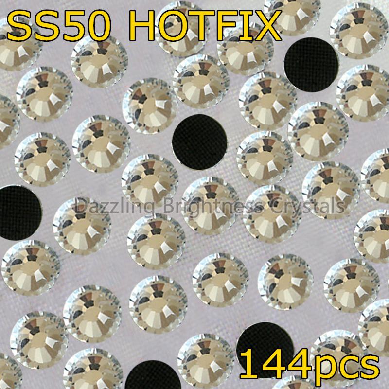 DMC Heat Transfer Iron On Garment 12mm Biggest Size SS50 2mm 1440pcs Clear Crystal Glitters Glass Strass Hotfix Rhinestones(China (Mainland))