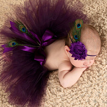 Princess Plum Peacock Feather Tutu Skirt with Vintage Headband Newborn Photography Props Baby Tutu Shower Gift TS035(China (Mainland))