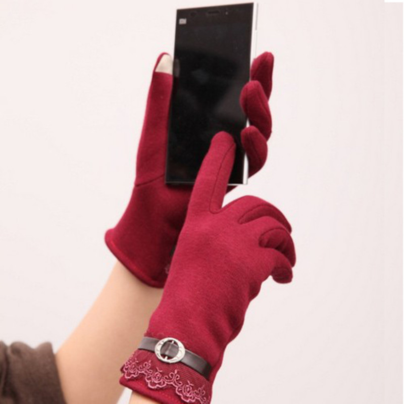 Гаджет  Fashion Design Free Size Winter Solid Cotton touch gloves female gloves 5 Colors Options None Одежда и аксессуары