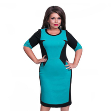 Buy 2017 Brand Female Dress 6XL Vestidos Patchwork Oversized Casual O Neck Pencil Dresses Sheath Plus Size Dress Party Sexy for $10.65 in AliExpress store