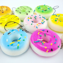 Squishy Donuts Soft  Mini Bread Phone Straps Squishy Chocolate Noodle Sprinkles Covered Key Chains(China (Mainland))
