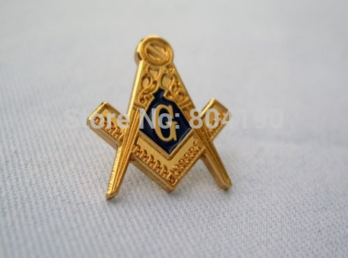 masonic gold tone square and compass tv emblem metal