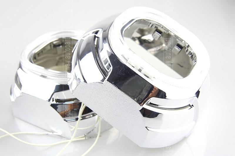 Купить Автомобиль Внешний Свет Ксенон Объектив HID H1 2.5 дюймов Би ксеноновые Объектив Проектора с 3 дюймов Кожух CCFT Белый Желтый Ангел глаза