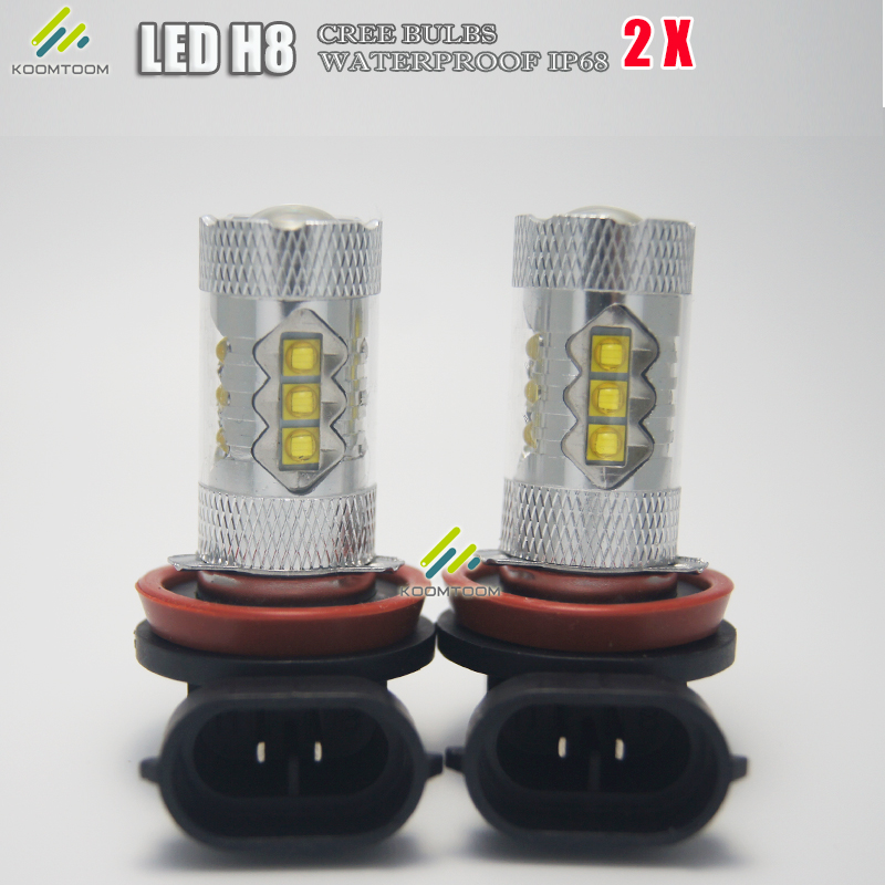 2pcs 60W H8 H11 LED Bulbs for Cars Fog Lights DRL with 2835 Car LED Bulbs 12 SMD with White Lights Free Shipping(China (Mainland))