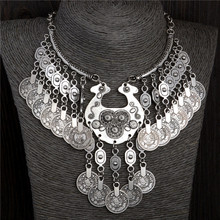 2016 Bohemian Vintage Chunky maxi Statement Necklaces for Women Exaggerated Silver Coin Choker Necklaces&Pendants(China (Mainland))