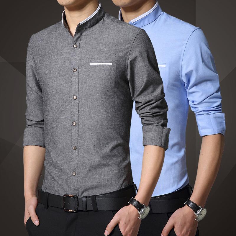 Модные рубашки воротник стойка