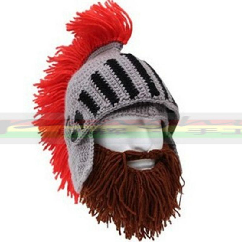 Mr.Kooky Red Tassel Cosplay Roman Knight Knit Helmet Men's Caps Original Barbarian Handmade Winter Warm Beard Hats Funny Beanies(China (Mainland))