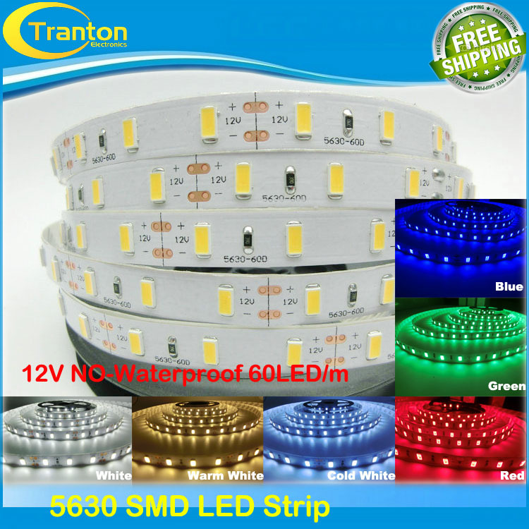 SMD 5630 DC12V flexible light 60leds/m LED strip with double side adhesive,5m/lot(China (Mainland))