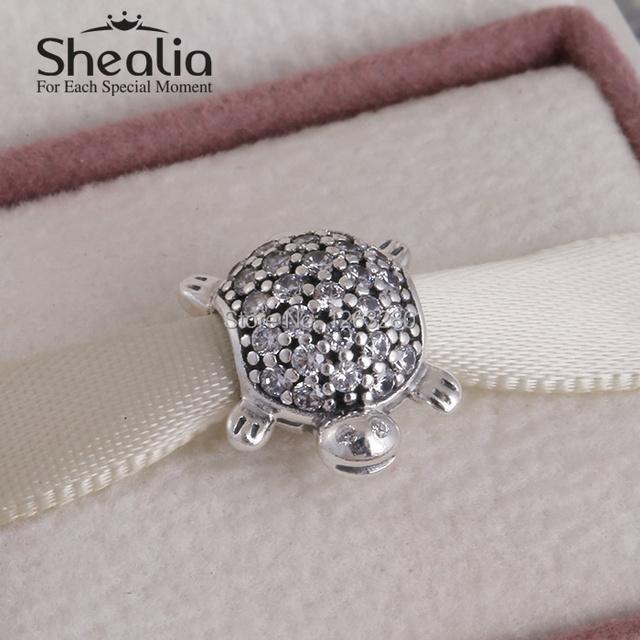 Лето коллекция 925 чистое серебро вымощает море черепаха подвески-талисманы с прозрачный cz shealia ювелирные изделия подходит бренд своими руками браслеты BD251