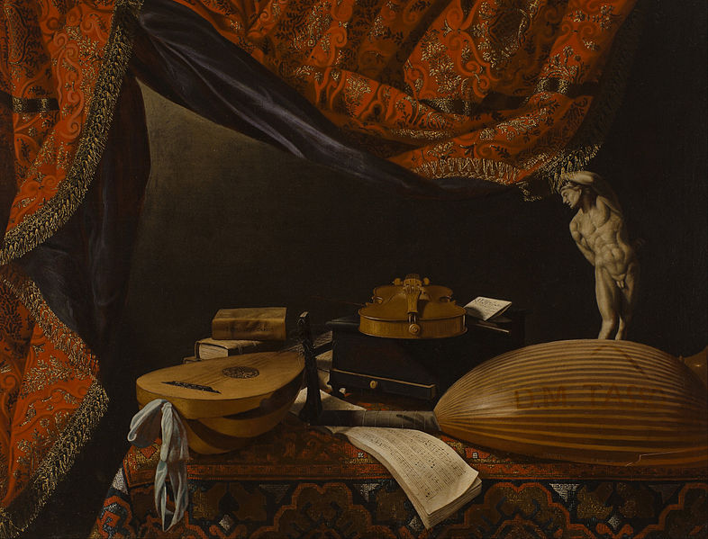 Canvas Art Prints Decor Giclee Oil Painting Evaristo Baschenis - Still Life With Musical Instruments Books And Sculpture(China (Mainland))