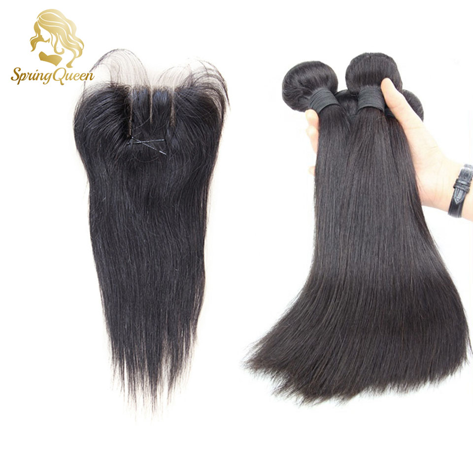 Здесь можно купить  Spring Hair 6A Peruvian Virgin Hair Straight Hair Weave Lace Closure Natural Color 3 bundles with closure Mario Hair  Волосы и аксессуары