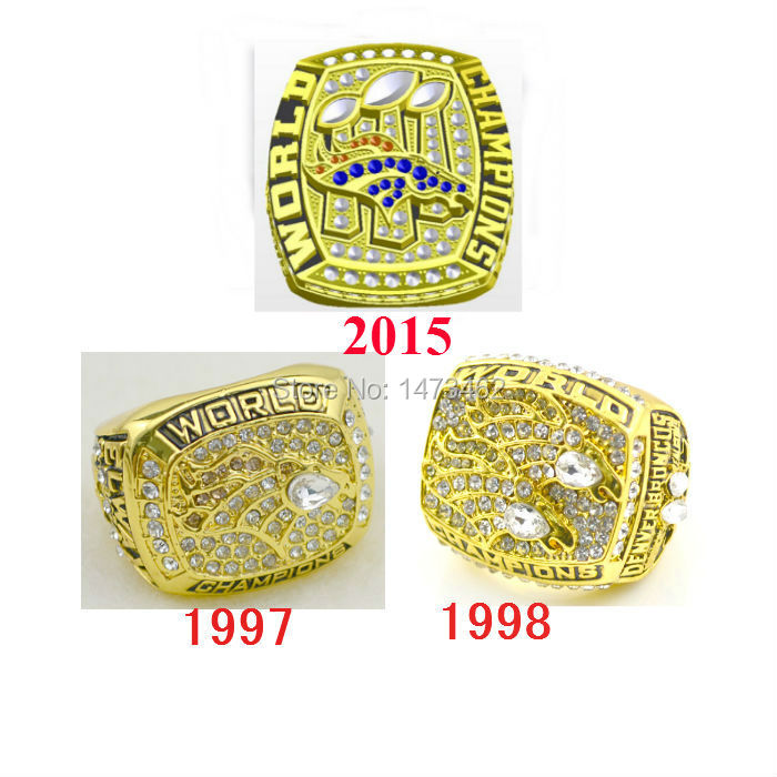 Wholesale 3pcs 1997 1998 2015 Denver Broncos Super Bowl replica championship rings US Size 11 high quality(China (Mainland))