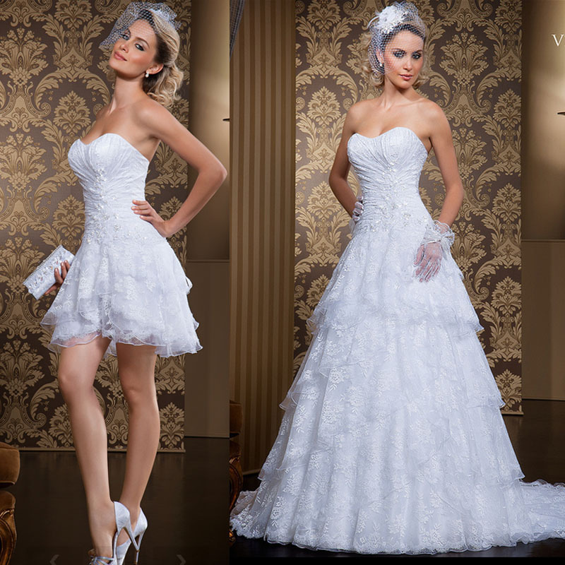 Convertible Wedding Gown Detachable Skirt: 2014 New White Ivory Sweetheart Sleeveless A Line Two