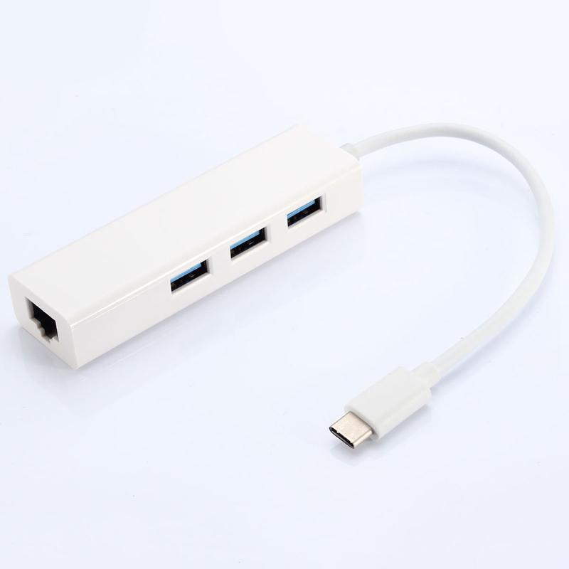 Продвижение USB3.1 Тип C для RJ45 100 М Ethernet LAN Сети + 3.0 3-портовый Концентратор Кабель-Адаптер High Quality