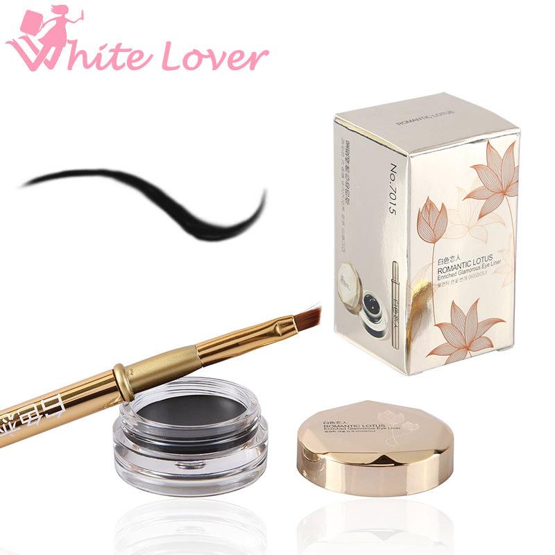 Гаджет  Hot Sale EFU 1 Set Beauty  Black Waterproof Eye Liner maquiagem Gel Eyeliner Cream Makeup Cosmetic Eyeliner + Brush #7015  None Красота и здоровье
